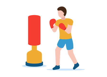 Boxing vector concept. Healthy lifestyle. Professional sports. A man in a T-shirt, shorts and gloves is boxing a standing manikin, honing his skills. Can be used on websites and web banners. EPS 10. 矢量图像