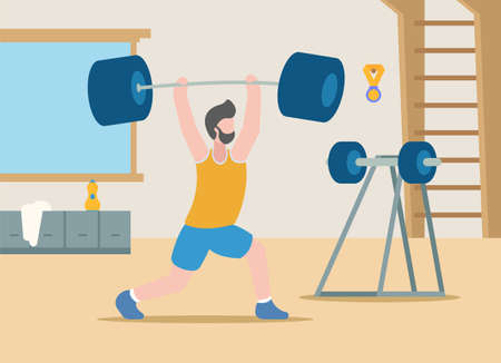 Vector bodybuilding concept. Healthy lifestyle. Professional sports. A pumped-up man in sportswear lifts a huge heavy dumbbell above him, which he took from the counter. Sports hall for trainings.  イラスト・ベクター素材