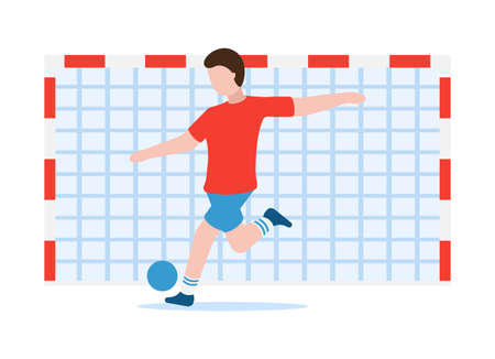Vector football concept. Healthy lifestyle. Professional sports. A man in sportswear swings his leg and kicks a soccer ball into the goal. Can be used on websites and web banners.