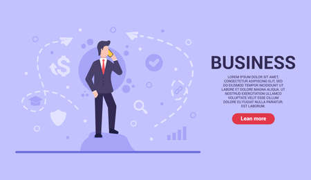 Business concept. Vector flat businessman stands on a stone and negotiates cooperation in order to develop the business and get profit in the future. Web banner on sites and smartphones. EPS 10.