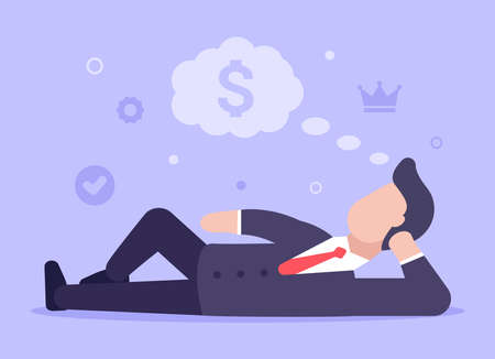 Business dreams concept. A man in a business suit lies and dreams of achieving success in business and getting a lot of money. Web banner. Vector illustration in modern flat style. EPS 10. Success.