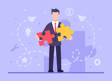 Business concept. Vector flat businessman puts puzzles of different colors into one, which symbolizes the unification of processes in business. Web banner on sites and smartphones. EPS 10.