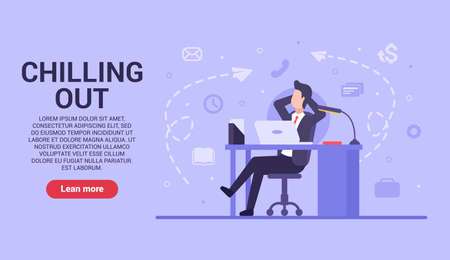 Business chilling out concept. Vector flat businessman sits at a work table and rests from business-related affairs. Rest after a hard day at work. Web banner on sites and smartphones. EPS 10.