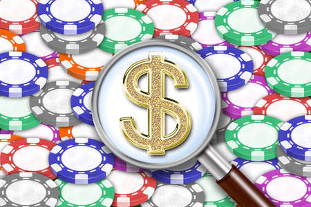 ardour: Illustration of background from playing chips and magnifying glass with dollars