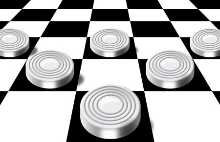 the prospect: Illustration of white checkers on a chess-board in a prospect