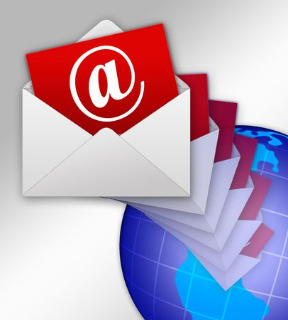 dispatch: Illustration of dispatch of electronic letter on all of planet Stock Photo