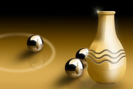 Illustration of vase with metallic balls in warm tones