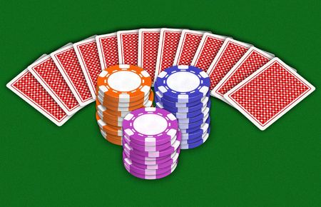ardour: Illustration of playing-cards and chips which replace a money