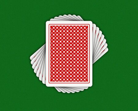 ardour: Illustration of playing-cards on a green background Stock Photo