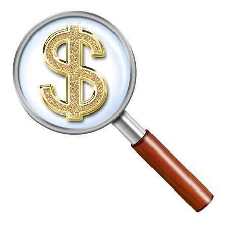 flowed: Illustration of magnifying glass on a light background with the sign of dollar