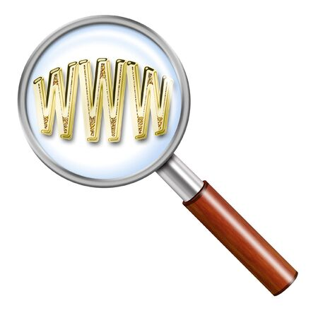 flowed: Illustration of magnifying glass on a light background with the sign of the gold internet Stock Photo