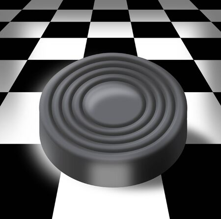 Illustration of white sword on a chess-board in a prospect