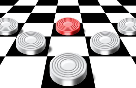 the prospect: Illustration of white checkers and one red on a chess-board in a prospect