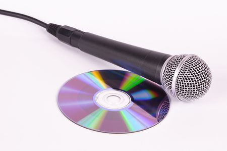 compact disk: Picture of microphone and compact disk disk on a white background