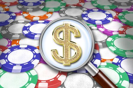 oversee: Illustration of background from playing chips and magnifying glass with dollars