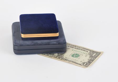 valuables: Picture of boxes for valuables and dollar on a white background