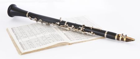 clarinet: Picture of musical instrument of clarinet on a white background