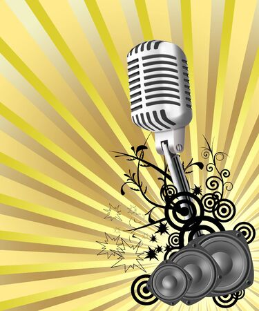 Illustration of microphone on an abstract background illustration