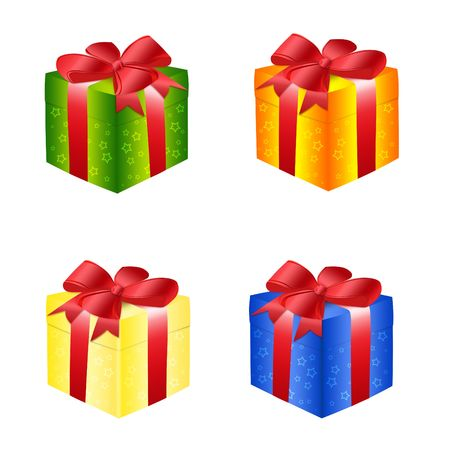 Illustration of gift boxes with bows on a white background illustration