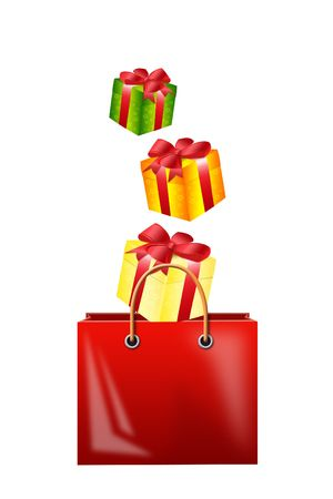 births: Illustration of falling gifts in a bag for purchases on a white background