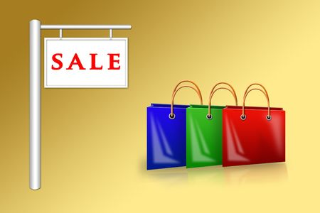 tally: Illustration of three different bags near a placard sale  Stock Photo