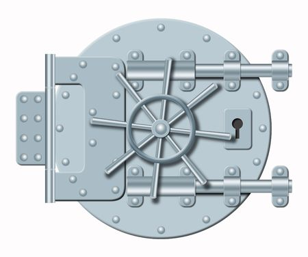 depository: Illustration of steel door of bank depository on a white background