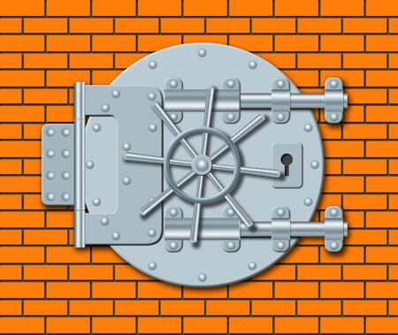 depository: Illustration of steel door of bank depository on a brick wall Stock Photo