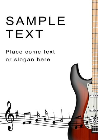 folk music: Illustration of electric guitar and musical notes on a white background Stock Photo