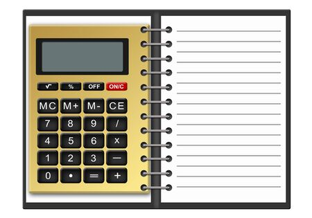 consider numbers: Illustration of notebook and calculator for calculations on a white background