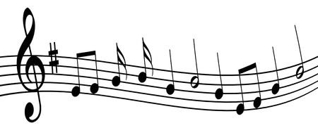 Illustration of musical notes on a white background