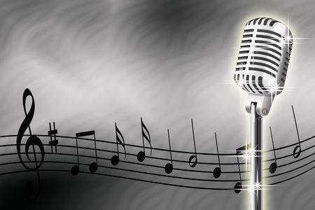 acorde�n: Ilustraci�n de micr�fono y notas musicales sobre un fondo blanco