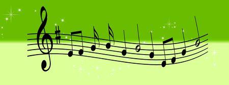 acorde�n: Ilustraci�n de notas musicales sobre un fondo abstracto  Foto de archivo
