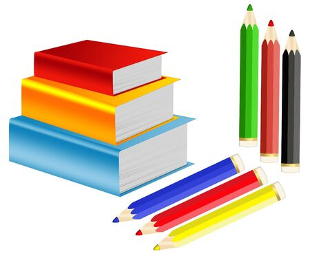 lies: Illustration of pile of books and crayons on a white background Stock Photo