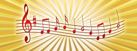 Illustration of musical notes on an abstract background Фото со стока