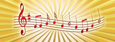 acordeon: Ilustraci�n de notas musicales sobre un fondo abstracto  Foto de archivo