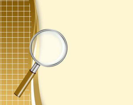 Illustration of magnifying glass on an abstract background with smooth lines illustration