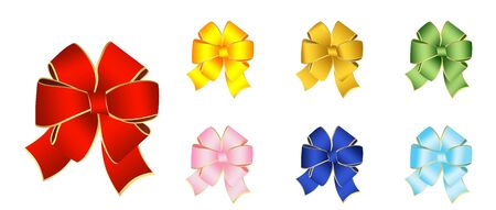 hook up: Illustration of varicoloured bows for the decoration of gifts on a white background Stock Photo
