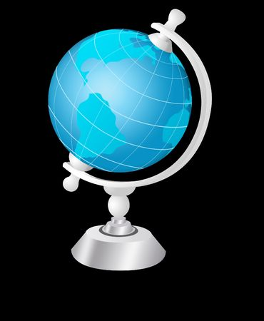exterminating: Illustration of globe on a black background