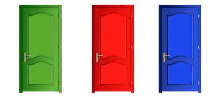 Illustration of three doors of different color on a white background illustration