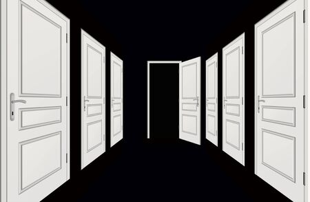 Illustration of corridor with by doors of white color on a black background illustration