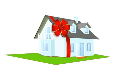 Illustration of house a ���������� bow on a white background illustration