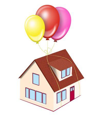 Illustration of house on balloons on a white background illustration