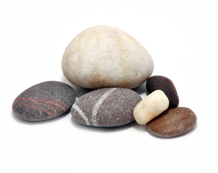 weakening: Picture of different smooth stone on a white background