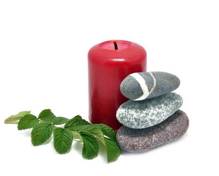 conflagrant: Picture of conflagrant candle and stone on a white background