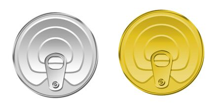 lids: Illustration of lids from tin jars on a white background Stock Photo