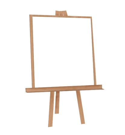 machinetool: Illustration of easel on a white background with a white sheet