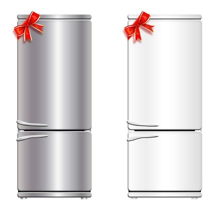 coldly: Illustration of refrigerator with a froster with a bow