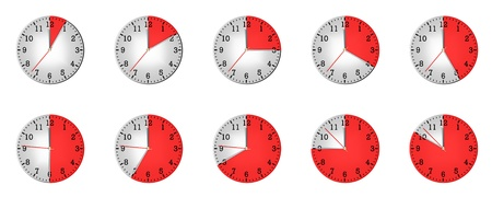 20 25: Different clock of which show different time on minutes 10, 15, 20, 25, 30, 35, 40, 45, 50