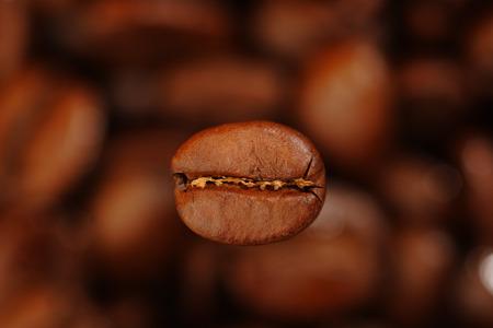 Coffee bean over blurred coffee beans.