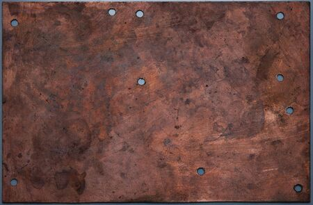 oxidized: Viejo y oxidado de cobre placa de rayado  Foto de archivo